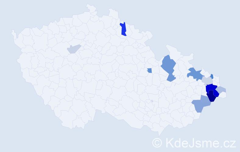 Příjmení: 'Hodula', počet výskytů 33 v celé ČR
