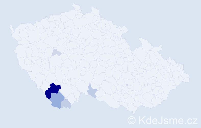 Příjmení: 'Jiraňová', počet výskytů 24 v celé ČR