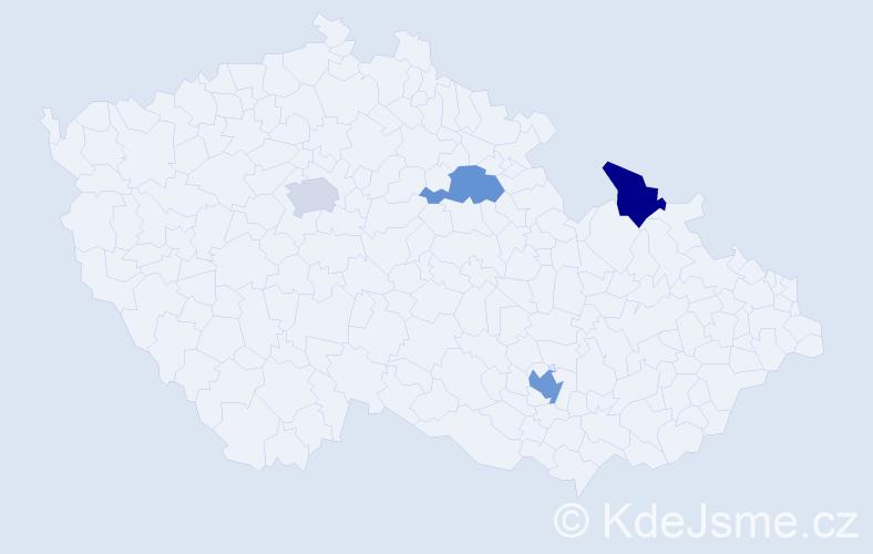 Příjmení: 'Klobučník', počet výskytů 5 v celé ČR