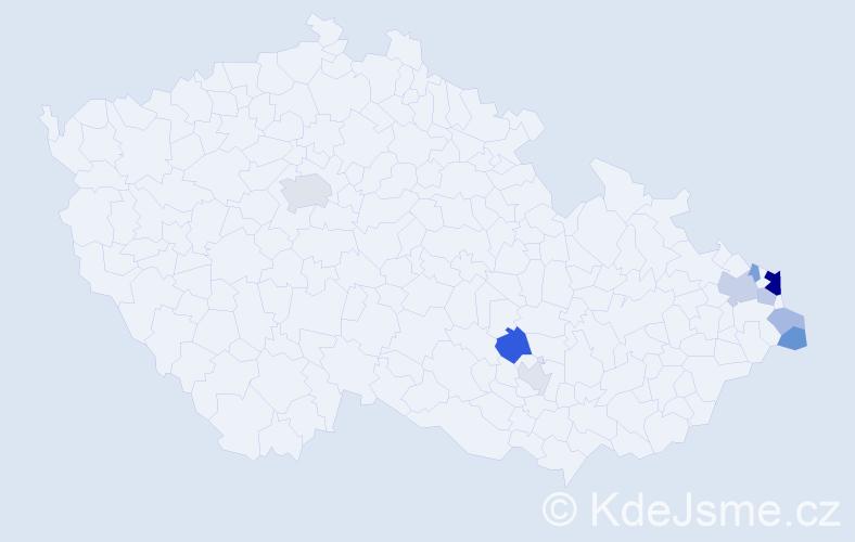 Příjmení: 'Januszová', počet výskytů 20 v celé ČR