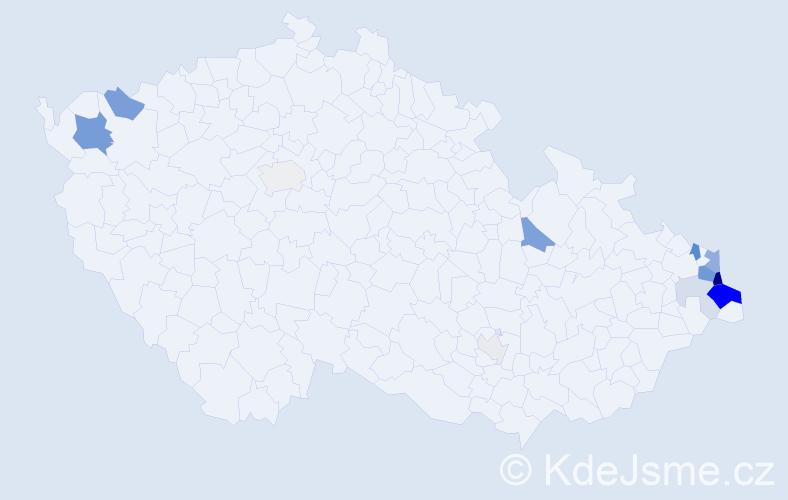 Příjmení: 'Gibiec', počet výskytů 40 v celé ČR