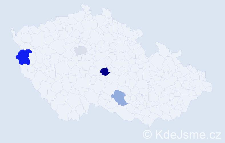 Příjmení: 'Hybštová', počet výskytů 14 v celé ČR