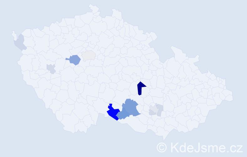 Příjmení: 'Beranovský', počet výskytů 27 v celé ČR