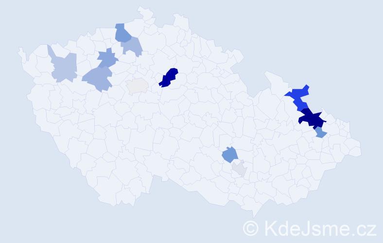 Příjmení: 'Havlica', počet výskytů 27 v celé ČR
