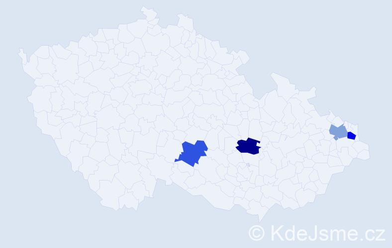 Příjmení: 'Bohanusová', počet výskytů 13 v celé ČR