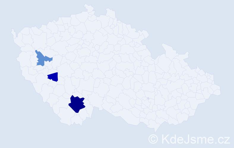Příjmení: 'Frcal', počet výskytů 13 v celé ČR