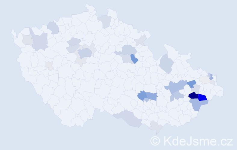 Příjmení: 'Jasná', počet výskytů 104 v celé ČR