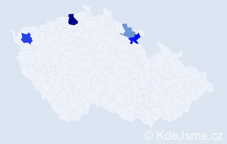 Příjmení: 'Čísar', počet výskytů 9 v celé ČR