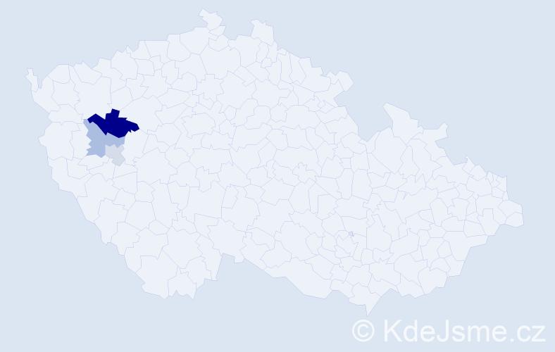 Příjmení: 'Hůgrová', počet výskytů 5 v celé ČR