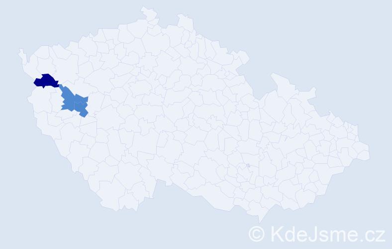 Příjmení: 'Barcaba', počet výskytů 9 v celé ČR