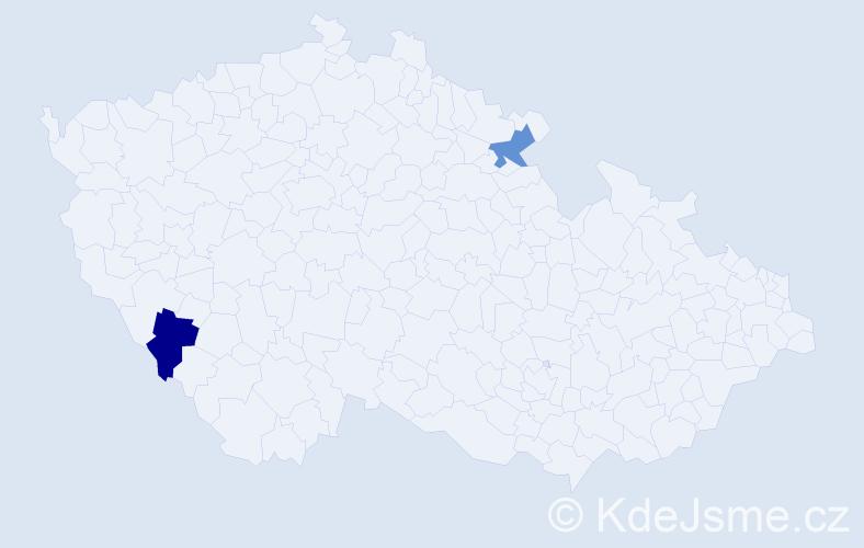 Příjmení: 'Hanschová', počet výskytů 2 v celé ČR