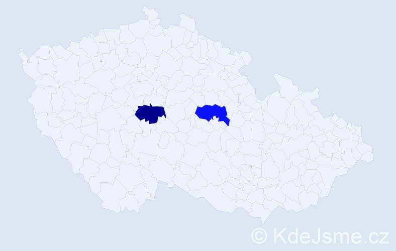 Příjmení: 'Lagínová', počet výskytů 4 v celé ČR