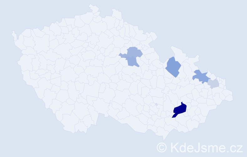 Příjmení: 'Binasová', počet výskytů 9 v celé ČR