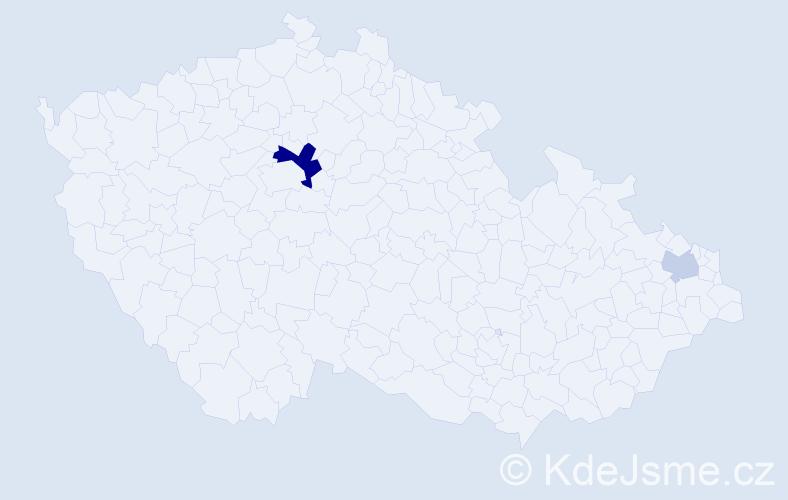 Příjmení: 'Jurin', počet výskytů 5 v celé ČR