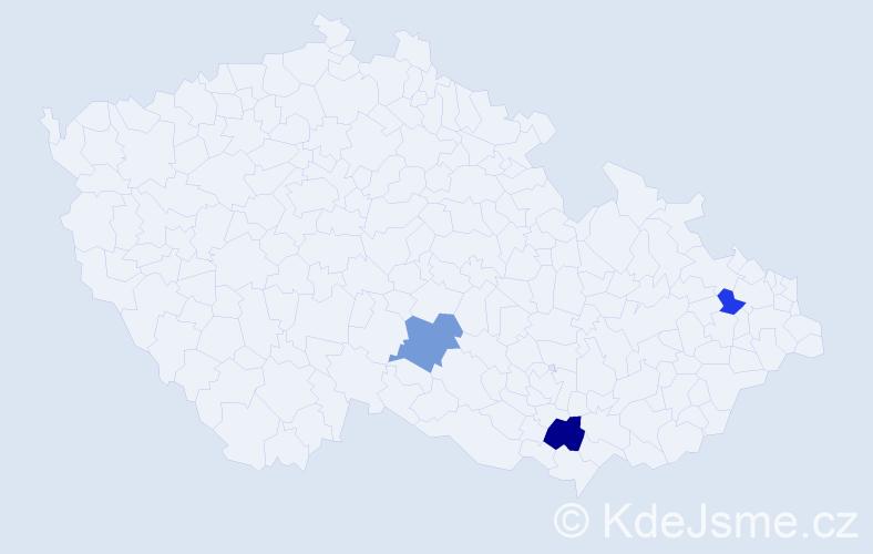 Příjmení: 'Drienková', počet výskytů 9 v celé ČR