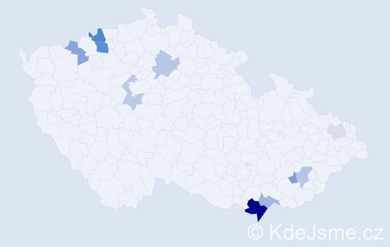Příjmení: 'Klč', počet výskytů 18 v celé ČR