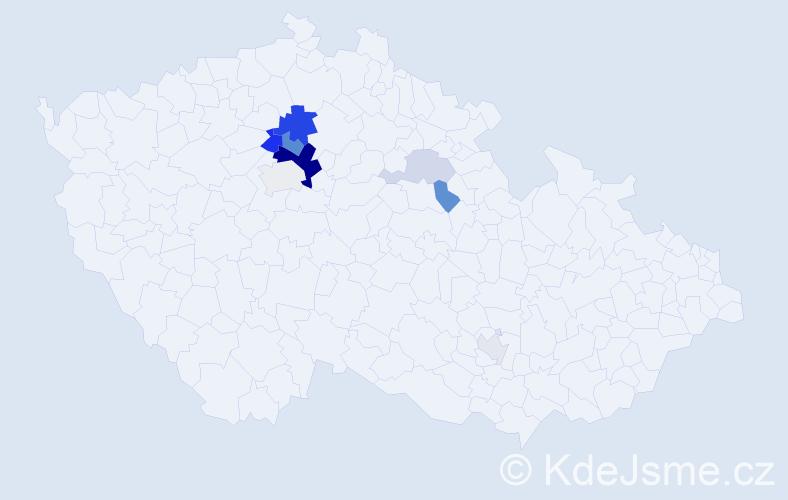 Příjmení: 'Kinda', počet výskytů 24 v celé ČR