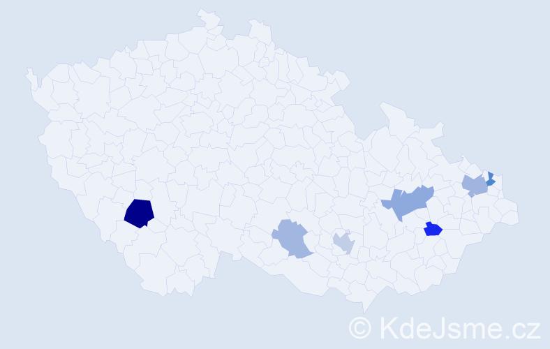 Příjmení: 'Baigarová', počet výskytů 15 v celé ČR