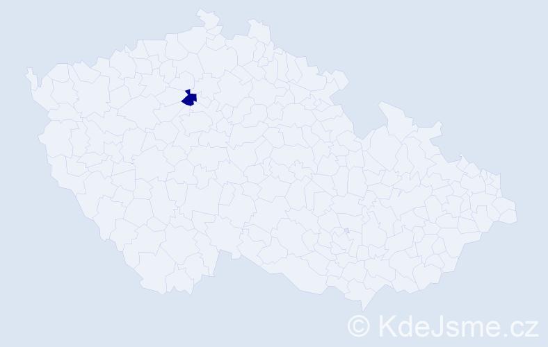 """Příjmení: '""""Kadeřábková Vitochová""""', počet výskytů 1 v celé ČR"""