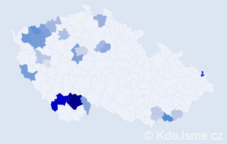 Příjmení: 'Čertík', počet výskytů 73 v celé ČR