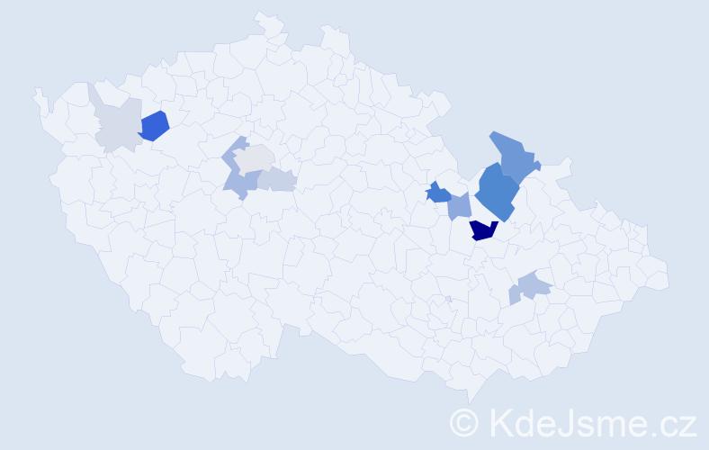 Příjmení: 'Ďopan', počet výskytů 31 v celé ČR