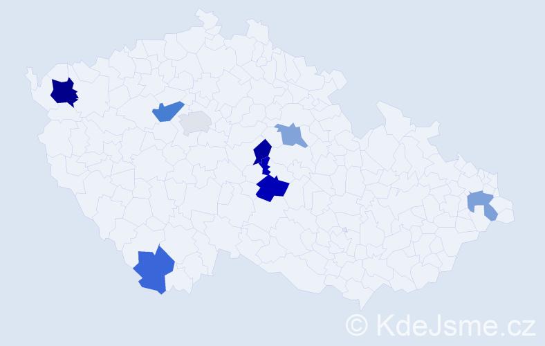Příjmení: 'Dioszegiová', počet výskytů 12 v celé ČR