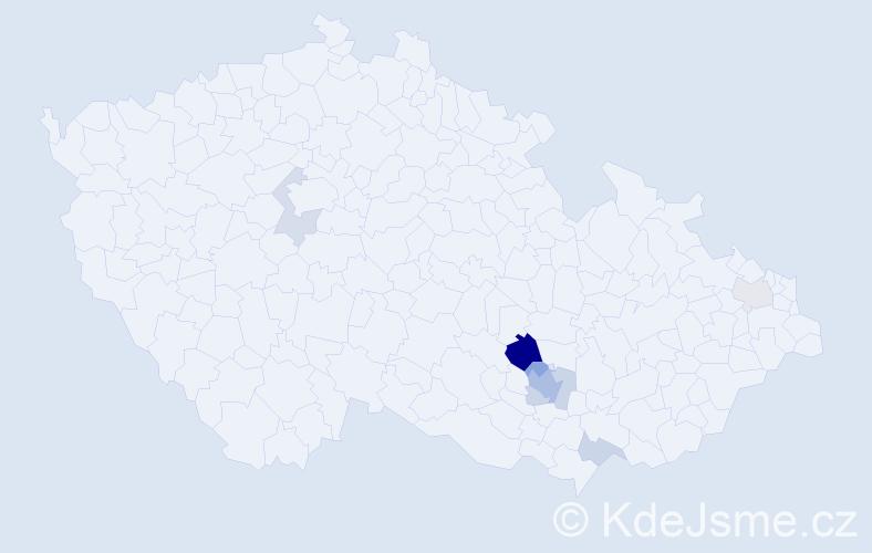 Příjmení: 'Darmopilová', počet výskytů 18 v celé ČR