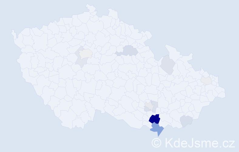 Příjmení: 'Čačík', počet výskytů 28 v celé ČR