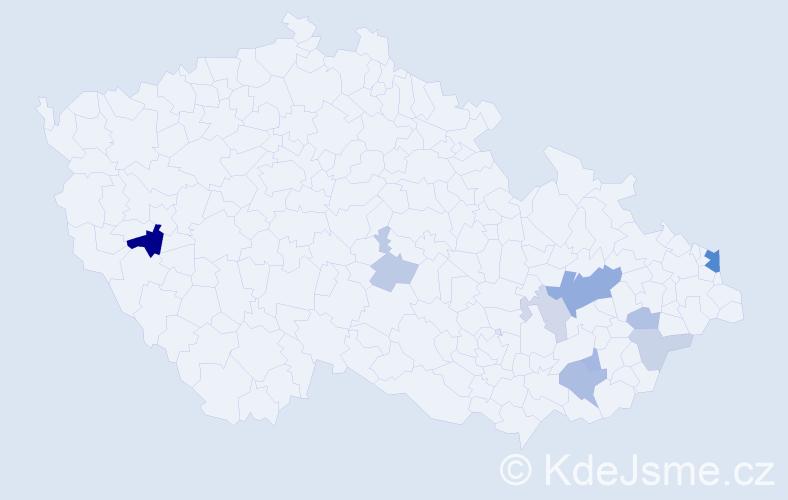 Příjmení: 'Furo', počet výskytů 21 v celé ČR