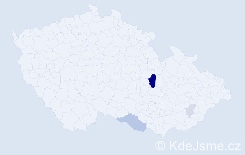 Příjmení: 'Czehowský', počet výskytů 10 v celé ČR