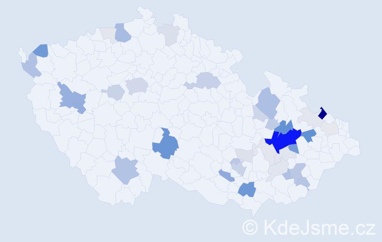 Příjmení: 'Benýšková', počet výskytů 156 v celé ČR