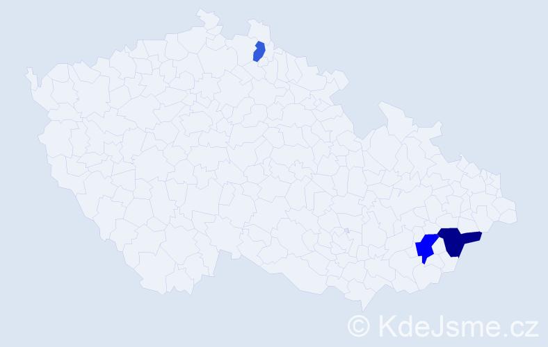 Příjmení: 'Hanuštiaková', počet výskytů 5 v celé ČR
