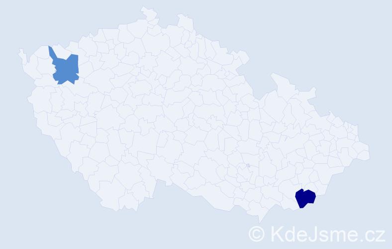 Příjmení: 'Čičala', počet výskytů 5 v celé ČR