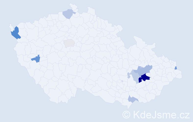 Příjmení: 'Chromčíková', počet výskytů 21 v celé ČR
