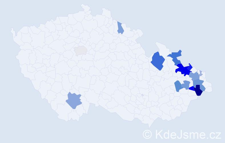 Příjmení: 'Čunta', počet výskytů 46 v celé ČR