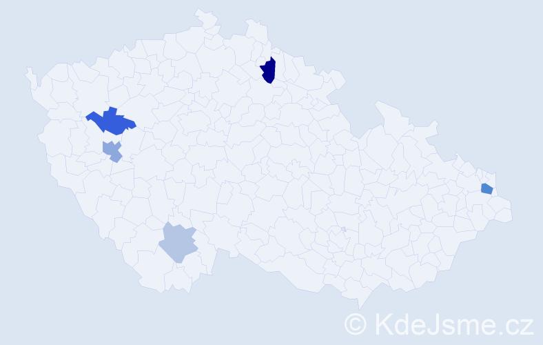 Příjmení: 'Ďurisová', počet výskytů 9 v celé ČR