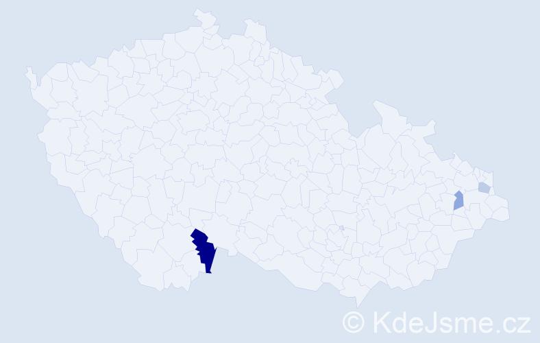 Příjmení: 'Bilbija', počet výskytů 5 v celé ČR