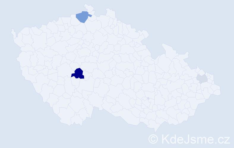 Příjmení: 'Gonzales', počet výskytů 5 v celé ČR