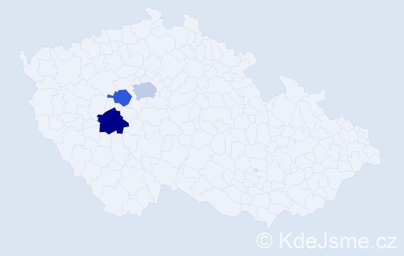 Příjmení: 'Iliáš', počet výskytů 5 v celé ČR