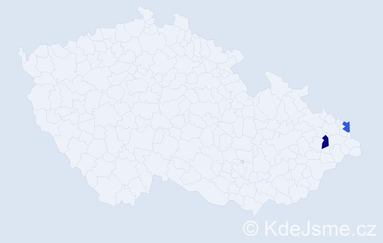 Příjmení: 'Lacký', počet výskytů 2 v celé ČR