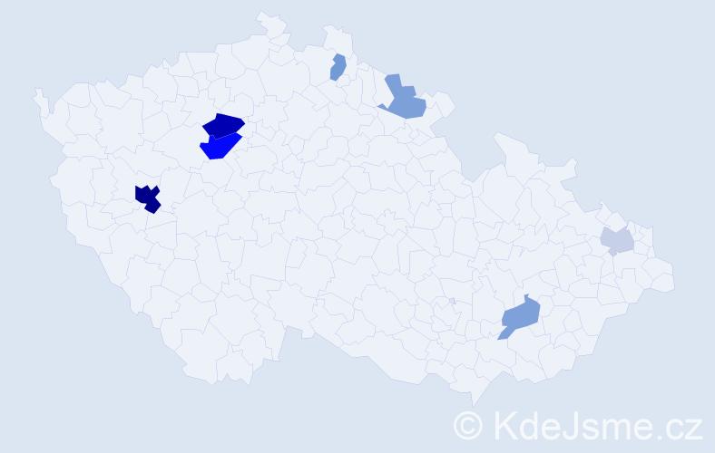 Příjmení: 'Hřebenář', počet výskytů 17 v celé ČR