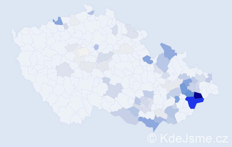 Příjmení: 'Třetina', počet výskytů 236 v celé ČR