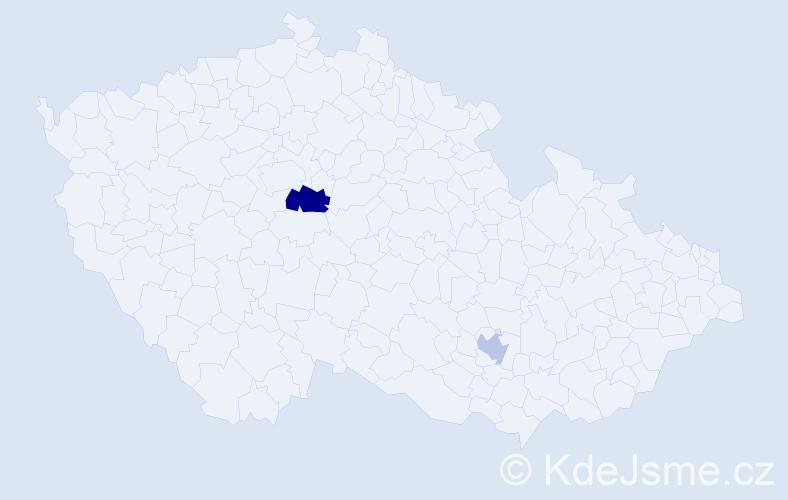Příjmení: 'Janecek', počet výskytů 3 v celé ČR