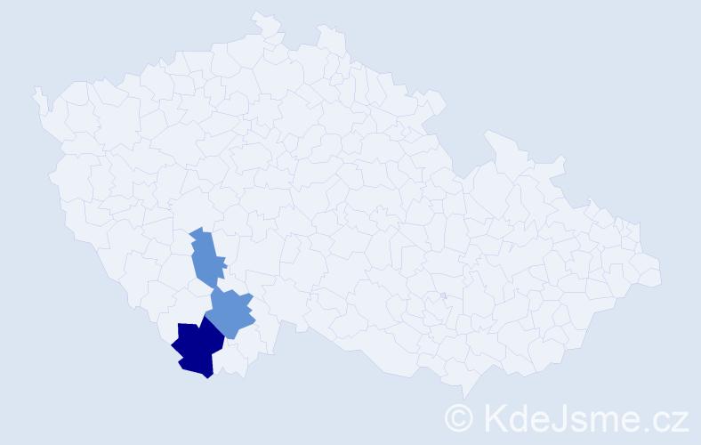 Příjmení: 'Čečelovská', počet výskytů 10 v celé ČR