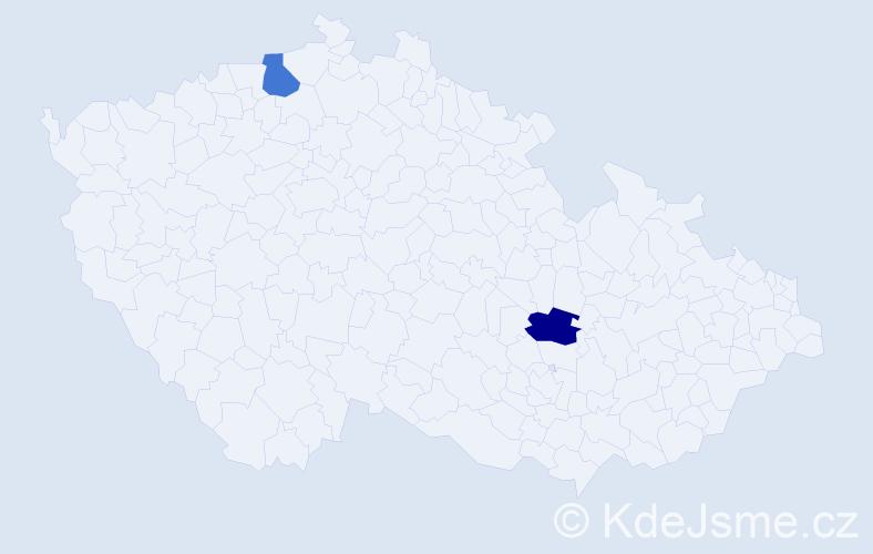 Příjmení: 'Ifeonu', počet výskytů 2 v celé ČR