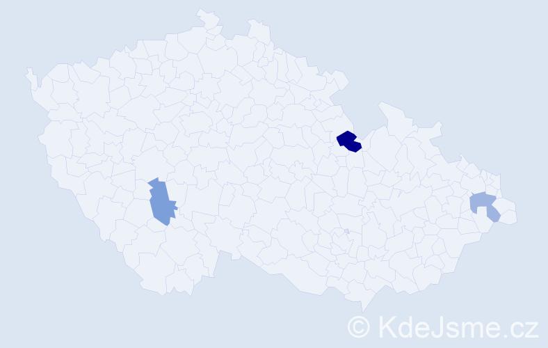 Příjmení: 'Kicošová', počet výskytů 4 v celé ČR