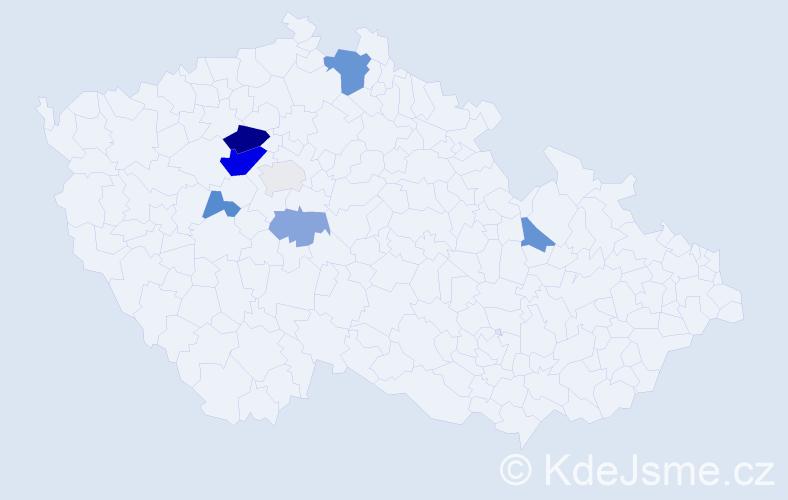Příjmení: 'Čerpl', počet výskytů 16 v celé ČR
