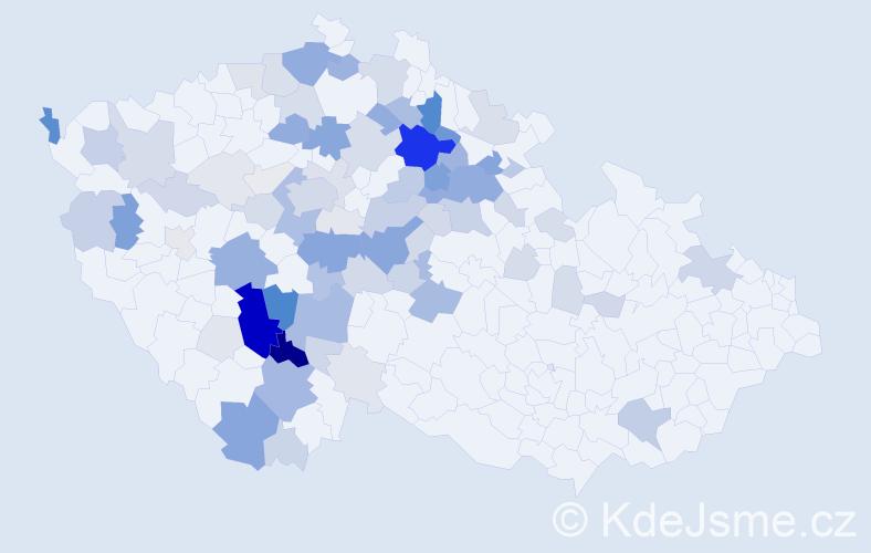 Příjmení: 'Kuntová', počet výskytů 290 v celé ČR