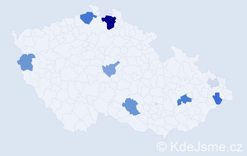 Příjmení: 'Goda', počet výskytů 20 v celé ČR