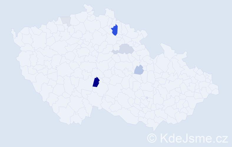 Příjmení: 'Kodejšková', počet výskytů 12 v celé ČR
